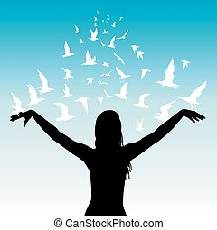 Learning to fly abstract concept with  woman and birds