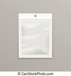 White Transparent Plastic Bag with Hang Slot - Vector White...