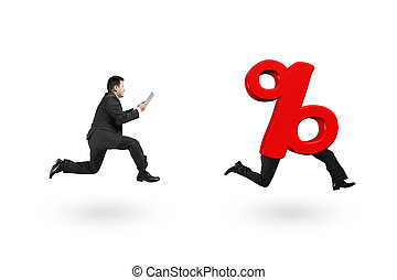 Man running after 3D red percentage sign with human legs