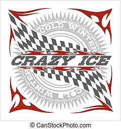 Racing emblem, crossed checkered flags, wheel and text on...