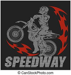 Motocross rider on a motorcycle - Illustration