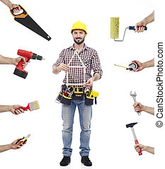 Repairman multi-tasking - Cheerful carpenter looking at...