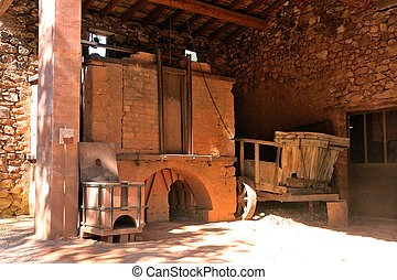 oven of Roussillon ocher factory where was treated ore to...