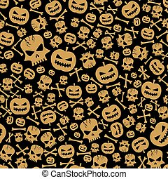 Vector Halloween Seamless Background - vector halloween...