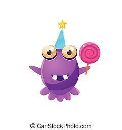 Purple Toy Monster In Party Hat Holding A Lollypop Cute...