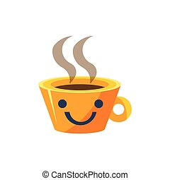 Coffe Mug Primitive Icon With Smiley Face Office Or School...