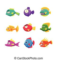 Colorful Cartoon Tropical Fish Set - Colorful Tropical Fish...