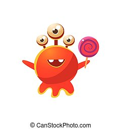 Red Three-Eyed Toy Monster With Lollypop Cute Childish...