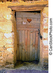 an old door in Roussillon ocher factory where was treated...
