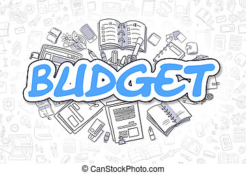 Budget - Doodle Blue Inscription. Business Concept. - Blue...
