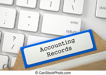 Card Index with Accounting Records 3D - Blue Folder Register...
