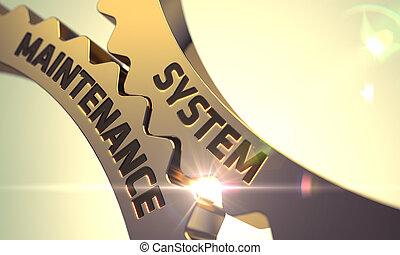 System Maintenance Concept. Golden Metallic Cogwheels. 3D.