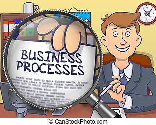 Business Processes through Magnifying Glass. Doodle Style. -...