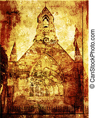 Grunge background with old church