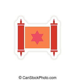 paper sticker on white background scroll Torah - paper...