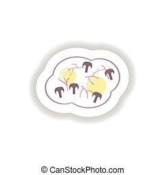 stylish paper sticker fried eggs with mushrooms