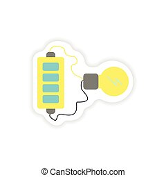 Set of paper stickers on white background mobile battery...