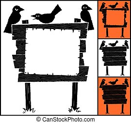 Sign and Crows - Cartoon wooden sign with crows and...