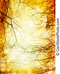 Grunge background with tree branches