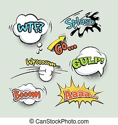 Comic sound effects cartoon vector set Speech bubble and...