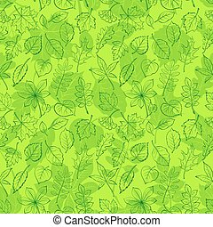 Leaves of Plants Pictogram, Seamless - Seamless Leaf Contour...