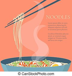 Chinese noodles bowl - Chinese noodles and chopsticks. Bowl...