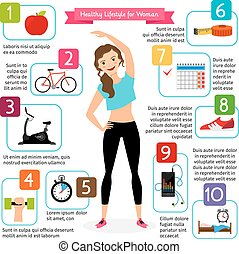 Woman healthy lifestyle infographics. Diet food, sports...