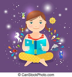 Cute girl reading book about magic