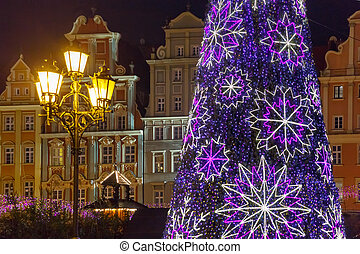 Market Square at christmas night, Wroclaw, Poland -...