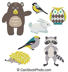 Forest cartoon animals isolated on white for kids. Brown...