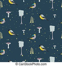 Dark blue forest seamless pattern with birds Trees and...