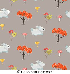 Orange trees and blue bunny earth color seamless pattern -...
