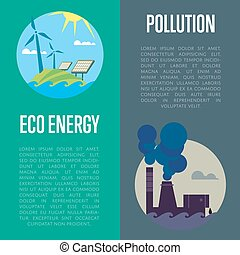 Eco energy and air pollution banners - Eco energy and air...
