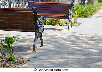 outdoor benches in the city in spring day