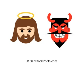 Jesus and Satan flat icon. Holy man Christ and red demon with horns. Son of God with halo and devil with beard