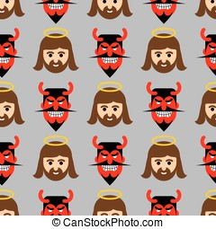 Jesus and Satan seamless pattern. Christ and red devil with...