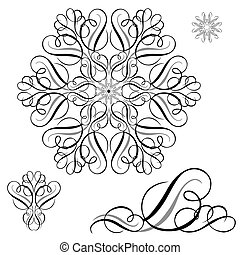 Vector Ornament Pieces Set - Vector swirl ornament set. Easy...