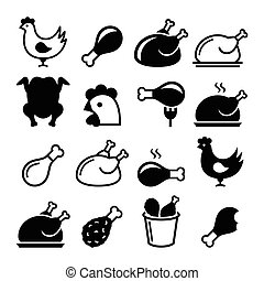 Chicken, fried chicken legs - food - Vector icons set -...