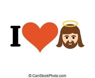 I love Jesus Christ. Heart and Gods son. Emblem for lovers of God