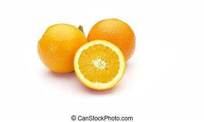 oranges - two oranges with one half on white