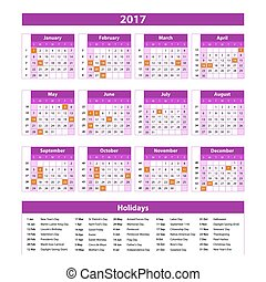 Year Planner Calendar 2017 - International worldwide printable organizer planner scheduler - with dates, days of the month - space for personal notes. Week starts Monday. Magenta pink, purple vector. art