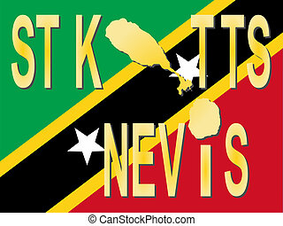 St Kitts Nevis text with map on flag illustration