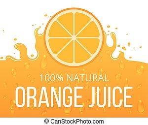 Natural orange juice label template. Juicy natural citrus,...