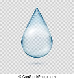 Falling transparent water drop vector isolated on a plaid...