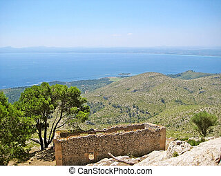 Bay of Alcudia, Majorca, Spain - view from mountain peak of...