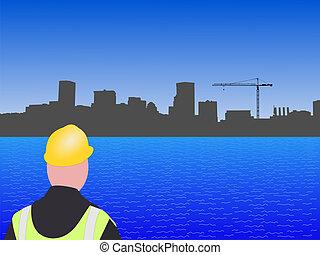 construção, local,  Baltimore