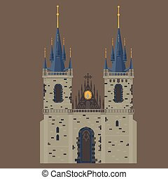Prague town, Czech Republic. Church of Mother of God before...