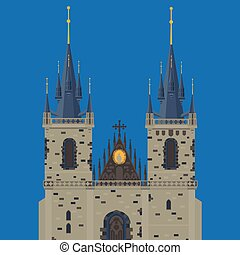Prague town, Czech Republic. Church of Mother of God before Tyn, Old Town Square in European city. Famous, tourists travel, popular routs.