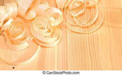 wood shavings on a table - picture of curled wood shavings...