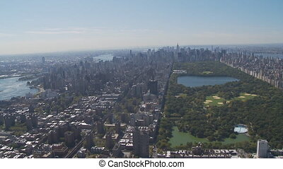 aerial view central park part II - aerial view east river,...